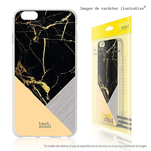 Funnytech® Funda Silicona para Xiaomi Mi Note 3 [Gel Silicona Flexible, Diseño Exclusivo] Textura marmol Negra