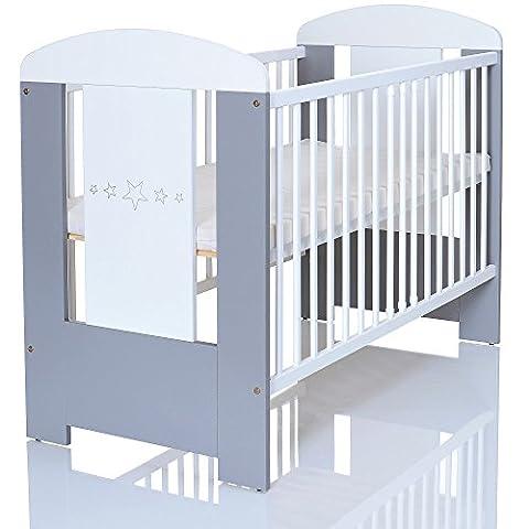 Baby Kinderbett GREYSTARS 120x60 cm weiss grau mit Holz Gravur