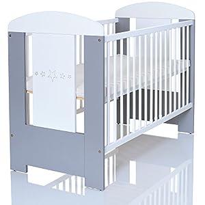 Kinderbett 120×60 cm weiß-grau mit 3-fach Höhenverstellbarer Komfort Matratze und 3 Schlupfsprossen