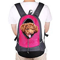 NHSUNRAY Pet Carrier mochila para pequeños perro gato Puppy(8kgs Max) On-the-Go Travel Pet frente parte posterior bolsa transpirable suave malla Pup Pack 42 * 38 * 20 cm (Rosa roja)