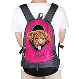 NHSUNRAY Pet Rucksack Träger für kleinen Hund-Katze-Puppy(8kgs Max) On-the-Go Travel Pet vorne hinten Tasche atmungsaktive Mesh Pup Softpack 42 * 38 * 20 cm (Rose Red)