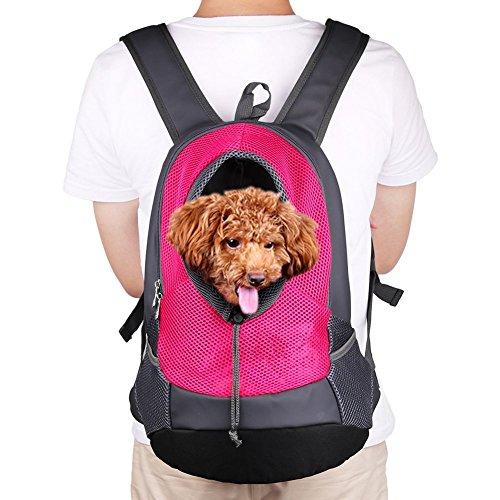 NHSUNRAY Pet Rucksack Träger für kleinen Hund-Katze-Puppy(8kgs Max) On-the-Go Travel Pet vorne hinten Tasche atmungsaktive Mesh Pup Softpack 42 * 38 * 20 cm (Rose Red) -