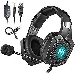 Cocoda Casque Gaming pour PS4, Xbox One(Adaptateur Nécessaire)/S/X, Casque Gamer Stéréo avec Micro d'Isolation du Bruit, RGB LED, Cache-Oreilles Doux pour Nintendo Switch(Audio)/ PC/Smartphone