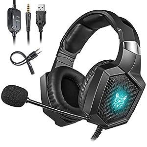 Cocoda Gaming Headset für PS4, Xbox One(Adapter Benötigt)/S/X, Stereo Over Ear Kopfhörer mit Rauschunterdrückung Mikrofon, RGB LED Licht, Weicher Ohrenschützer für Nintendo Switch Computer Mac Laptop