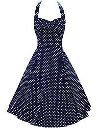 LUOUSE Robe de Bal/Soirée Licou Vintage année 40 50 60 avec des Points Polka