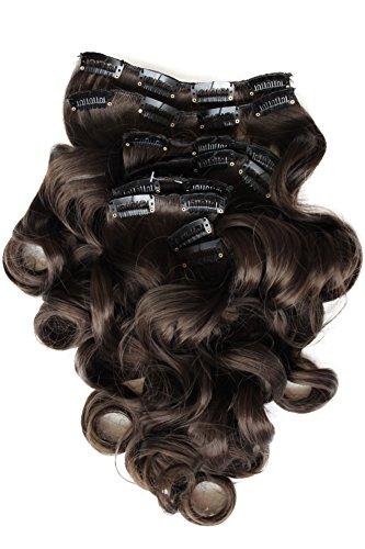 PRETTYSHOP XXL 8 Teile Set Clip in Extensions 50cm Haarverlängerung Haarteil hitzebeständig gewellt schokobraun #6 CES103-1