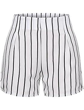 DOGZI Mujer Verano Raya Pantalones Cortos Casual Pantalones de Vestir Elegante Pantalones de Pinza Negocios Palazzo...