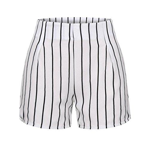 d9bc2d944 DOGZI Mujer Verano Raya Pantalones Cortos Casual Pantalones de ...