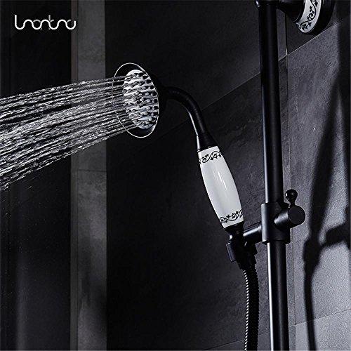 NIHE Ensemble de robinet de douche en bronze frotté avec douchette de douche + pomme de douche Robinet de mélange de baignoire mural de salle de bains en salle de bains noir - Garantie de 5 ans