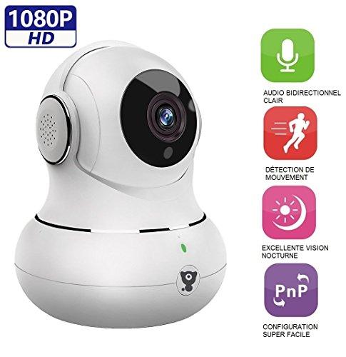 Littlelf IP-Kamera 1080p Full HD, Drahtlose Fernüberwachung 350° Panorama und 105° Neigung durch Anwendungen gesteuert, Eingangs- und Überwachungskamera CCTV Cam, 3D Panoramakamera, Fernüberwachung für Babys und Tiere - - Kamera Fernüberwachung