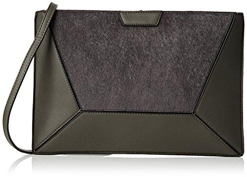 Swankyswans Damen Lydia Fur Pu Leather Crossbody Day Clutch Bag Tasche, Einheitsgröße Grau