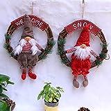 Gaddrt Christmas Ornamente Weihnachtsschmuck Puppe Kranz Rattan Ring Weihnachtsbaum Anhänger hängenden Ring 30x47cm