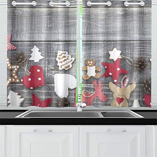 te Weihnachten Handwerk auf Holz Küche Vorhänge Fenster Vorhang Stufen für Café, Bad, Wäscherei, Wohnzimmer Schlafzimmer 26 X 39 Zoll 2 Stück ()