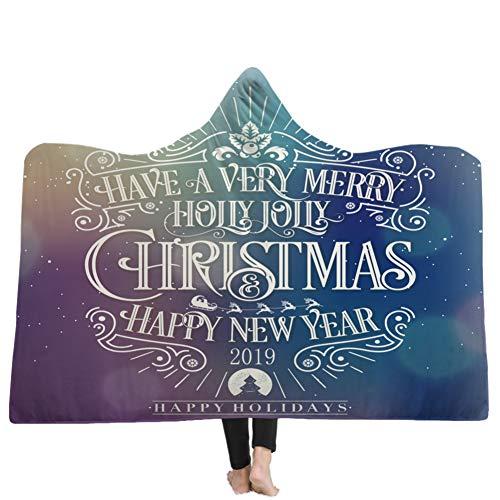 Etophigh Frohe Weihnachten druckt mit Kapuze-Decke-super-weiche warme Wearable Decke Wurf Wrap-Mantel-Kap Für Erwachsene Mann Einer Frau Couch Schlafsofa (Frau Super Kap)