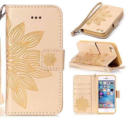Linvei iPhone 5/5S/5SE Flip Case housse Téléphone Portable Étui de Protection Rabattable Style Flip Cover PU Cuir avec Fermeture Aimantée pour iPhone 5/5S/5SE -Fleur Marron Fleur d'or