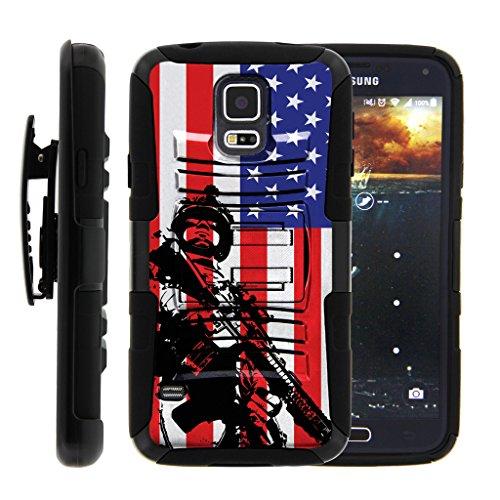turtlearmor | kompatibel für Samsung Galaxy S5Case | G900| i9600[Hyper Schock] Rugged Hybrid Hard Shell Ständer ausgestattet Silikon Holster Gürtelclip Krieg und Military Design -, American Soldier (Boost Telefone S5 Mobile Samsung)