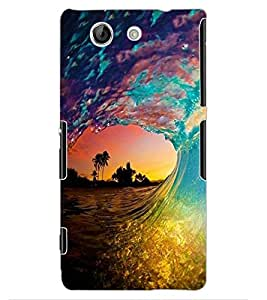 ColourCraft Beautiful Water Waves Design Back Case Cover for SONY XPERIA Z4 MINI / COMPACT