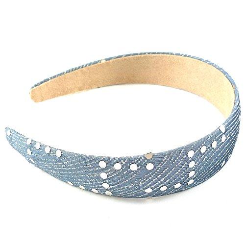 rougecaramel - Accessoires cheveux - Serre tête/headband large avec motif argenté 3cm - gris foncé