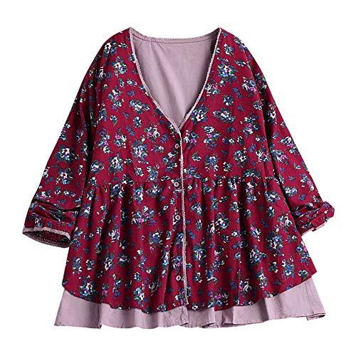 MRULIC Damen Fledermaus Hemd Lässig Locker Top Dünnschnitt Bluse Frühling Neu T-Shirt Leinenbluse Freundin(E-rosa,EU-48/CN-4XL)