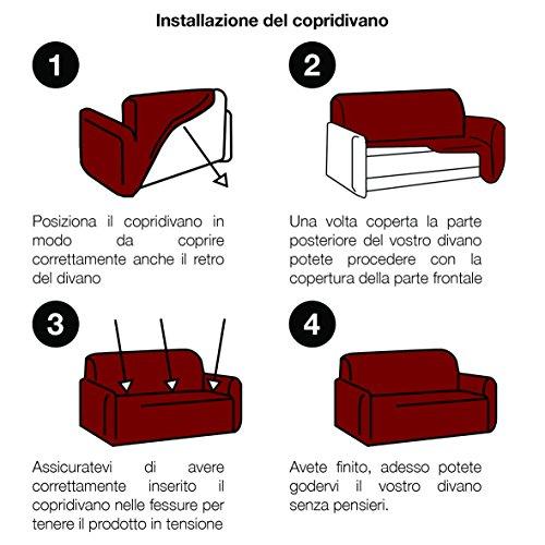 Copridivano Italiano 2 Pezzi ANTIMACCHIA (copridivano + copricuscino) bielastico Elastico 1P 2P 3P 4P - Made in Italy (Bianco, Divano 2 posti + Cuscino 2 posti)