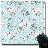 Tappetini per Il Mouse Estate Blu Floreale Semplice Simpatico Modello Fiori su Piccola Scala Foglia Shabby Vintage Rosa Liberty Femminile Forma Oblunga Tappeto per Mouse da Gioco Antiscivolo 18X22 Cm