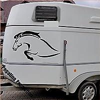 Pegatina Promotion Pferdefront beim Sprung, Modell 2, 1 Stück Aufkleber Anhänger Pferd Anhänger ca. 60x40cm