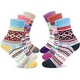 Gifort chaussettes en laine pour femmes, Chaussettes douillettes en hiver, douces et chaudes, épaisses et respirantes - 6 paires
