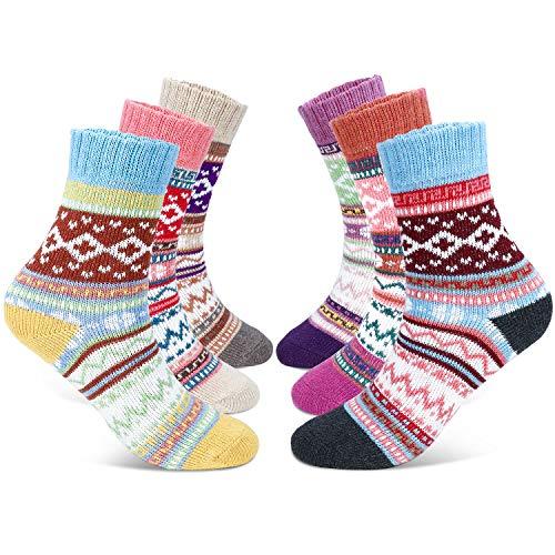 Gifort calcetines de lana para mujer, calcetines acogedores de invierno vintage, suaves, cálidos, gruesos, transpirables, 6 pares