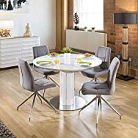 5c1111e183 Quatropi Modern Extending Dining Set Oval/Round Glass Wht Table 4 Gry Chairs
