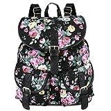 Vbiger Damen Rucksack Damen Daypack Backpack Canvas Rucksack Vintage Rucksack Schulrucksack mit Großer Kapazität, Schwarz Blumen+, One Size