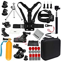 Gurmoir Sports Action Camera Accessories Kit Outdoor Travel Camera Accessories Kit for GoPro Hero 8/Hero 7 Black/6/5/4Session5/4/DJI Osmo Action/AKASO/SJCAM/YI/APEMAN and More Action Cameras(GT08)