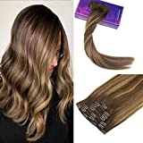 LaaVoo 14zoll Balayage Clip in Extensions Echthaar Dark Brown zu Caramel Blond Mix Dunkelbraun #4/27/4 Clip on Haarverlangerung Full Head 120Gramm/7Stuck