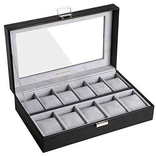 SONGMICS Uhrenbox, Uhrenkasten, Aufbewahrungsbox mit großen Fächern, mit PU-Bezug, Samt-Innenfutter und Glasfenster, ideal als Geschenk, schwarz, JWB14BK