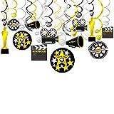 Konsait Hollywood Deckenhänger Spiral Girlanden mit Filmklappe Kamera Filmrolle Pokal für Hollywood Oscars Film Nacht Geburtstagsfeier Dekor Schwarz und Gold Silber, 18 Teilig Set