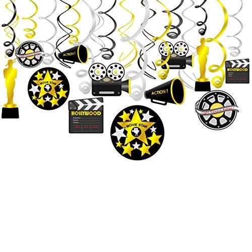 ckenhänger Spiral Girlanden mit Filmklappe Kamera Filmrolle Pokal für Hollywood Oscars Film Nacht Geburtstagsfeier Dekor Schwarz und Gold Silber, 18 Teilig Set ()