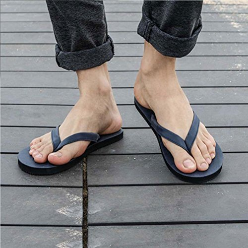 Zhhlinyuan Summer Beach Casual Flip Flops Shoes Cool Men's Flat Slippers 11002 Blue