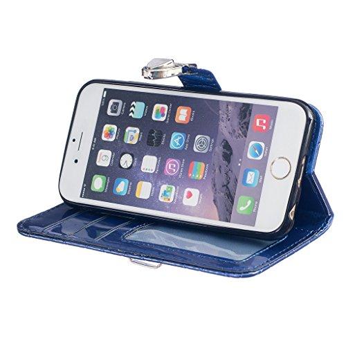 Uming® Motif Gaufrage Séries Lisse cas PU Holster Case ( White Metal Button - pour IPhone 6 6S IPhone6S IPhone6 ) Artificial-cuir flip avec support Stander titulaire de la carte de crédit fente Wallet Blue Metal Button