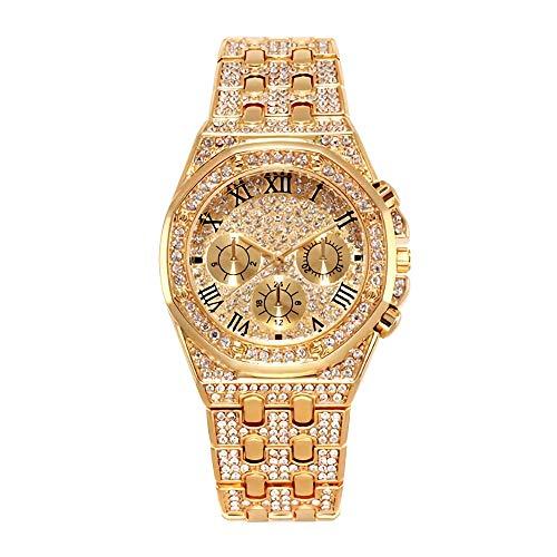 Herrenuhr Bling Bling Modeschmuck Kristall Diamant Strass Damenuhren Stahlband Armband Runde Zifferblatt Analoge Uhr Armband Kleid Wristwatche Hip Hop Royalty Herrenuhr 3g Strass