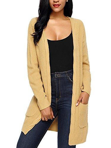 Damen Lang Strickjacke Casual Langarm Cardigan Pullover Jacke Mantel Oversize Winter Herbst Outwear Ufly (1-dollar-shorts)