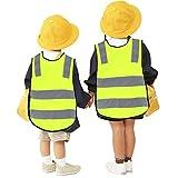 Miju7455 - Enfant Gilet Jaune de securite Haute visibilité Devant avec des Bandes...