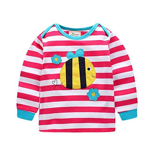 Heiße Mädchen T-shirt (JERFER Karikatur Streifen Herbst Langes Hülsen Shirt Tops Neugeborene Babykleidung Kleinkind Bluse Sweatshirt Babykleider Mädchen Junge Rundhals Langarmshirts 1.5-6 Jahre (Heißes Rosa, 3T))