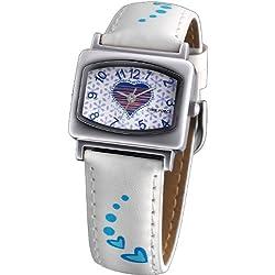 Reloj TIME FORCE de niña o señora. Acero Correa de piel. Corazones Blanco y azul TF-3202B03