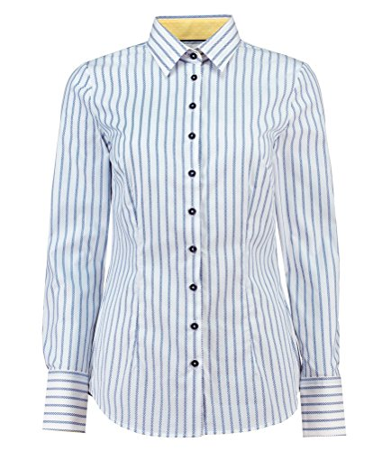 HAWES & CURTIS Chemisier Femme Ajusté Tissu Façonné Blanc & Bleu Blanc/Bleu
