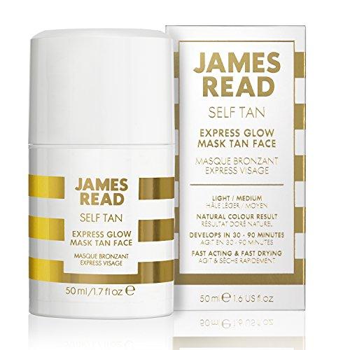 James read maschera autoabbronzante rapida per il viso 50ml leggero/medio gel autoabbronzante, abbronzatura graduale, formula incolore e pulita, risultati verificabili, arricchito con aloe vera, dura fino a 7 giorni