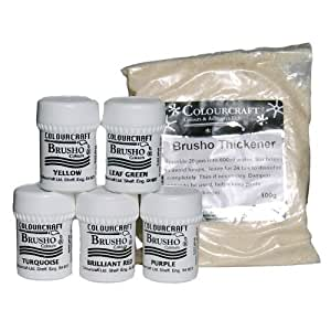 Brusho Crystal Colour Set- 5 x 15g pot + thickener - assorted colours