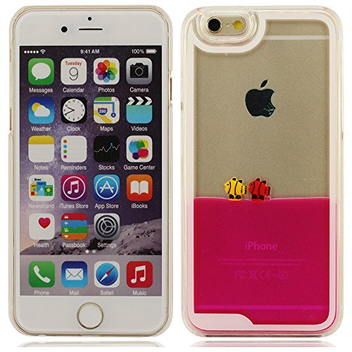 iPhone 6 plus Hülle, iPhone 6 plus case,Fließen Flüssig Wasser Tropische Fische Hartplastik Schutzhülle für Apple iPhone 6 plus 5,5 inch(blau) rote