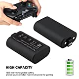 Xbox One Controller Battery Pack, 2 Pack 1200mAh Rechargeable Xbox One Play and Charge Kit with Micro USB Charging Cable for Xbox One / Xbox One S / Xbox One X