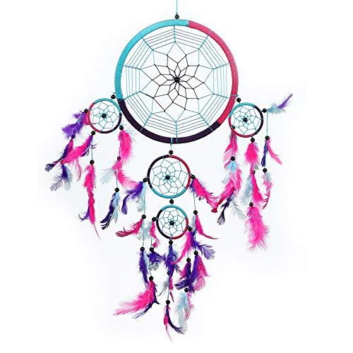 Pink Pineapple Dreamcatcher bunt mit Federn: Handgemachter Traumfänger in Vielen Farben - Türkis Blau, Rosa, Lila, Großer Traumfänger Mit 22 cm Durchmesser und 60 cm Lang (Dreamcatcher)