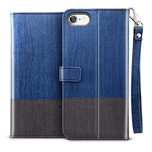 Coque iPhone 7, Coque iPhone 8 Bleu, ESR Coque à Rabat Portefeuille en Cuir PU Premium avec Fente pour Carte Bleu, Support et Sangle, Housse Etui de Protection Bumper Folio à Clapet avec Poche pour Ca Bleu Noir