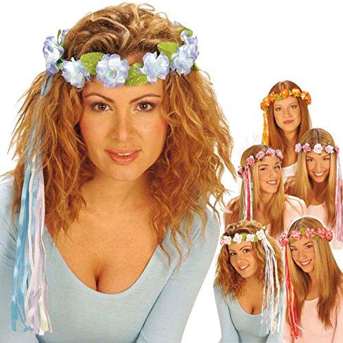 Amakando Blumenkranz Haare Haarschmuck Blumen blau Hippie Blumenhaarkranz Fee Blütenkranz Elfe Blumenschmuck Haar Kostüm Accessoire Blumenkind Mottoparty - Blaue Haare Kostüm